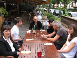Norwegische Autorin Maria Tryti Vennerød (links) und Eurodram-Mitglieder Christian Meyer, Carsten Brandau, Heike Wintz, Wolfgang Barth, Nicole Desjardins