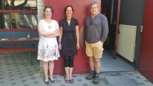 Ulrike Syha (Koordinatorin), Inka Neubert, Neil Fleming am 24.06.2017 vor dem Theaterhaus/G7 in Mannheim.
